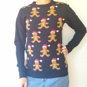 F&F • navy knit gingerbread Christmas sweater